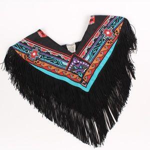 Vintage Navajo Aztec Design Fringe Shawl